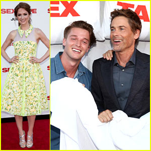 Patrick Schwarzenegger Gets in Bed with Rob Lowe at 'Sex Tape' Premiere!