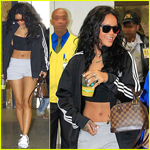 Rihanna Brings Toned Tummy to Brazil Before FIFA World Cup Finals