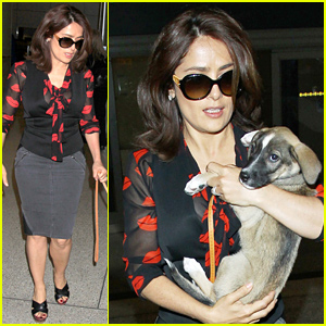 Salma Hayek Brings Adorable New Pup on Her Flight to LAX!