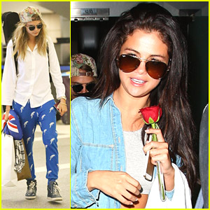 Selena Gomez Smells The Roses at LAX Airport with Cara Delevingne