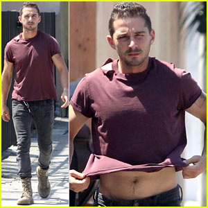 Shia LaBeouf Lifts His Shirt & Bares His Torso After a Workout