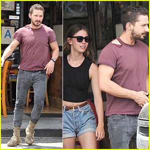 Shia LaBeouf Wears Ripped Tee For Lunch with Girlfriend Mia Goth