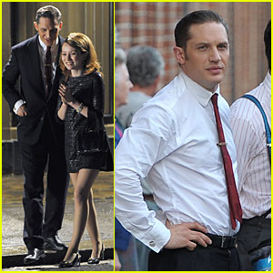 Tom Hardy & Emily Browning Are Wide Awake & Smiling For Late Night 'Legend' Shoot