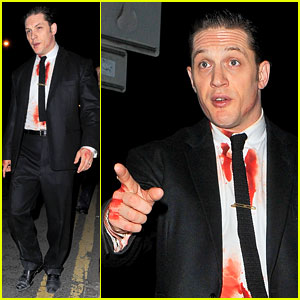 Tom Hardy Gets Covered in Blood for Late Night 'Legend' Shoot