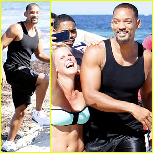 Will Smith Soaks Up the Attention at the Beach in Spain