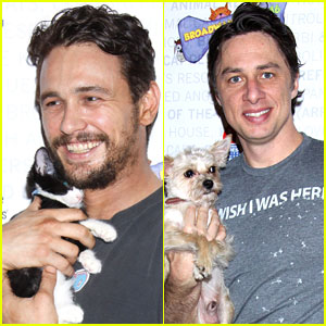James Franco & Zach Braff Snuggle Some Cute Puppies & Kittens at Broadway Barks!