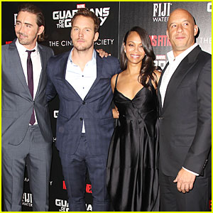 Zoe Saldana Hides Baby Bump in Black Dress at 'Guardians of the Galaxy' Screening