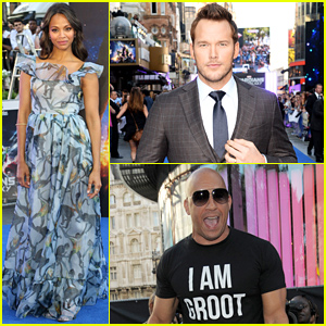 Pregnant Zoe Saldana Wears Billowy Dress to Hide Her Baby Bump at 'Guardians of the Galaxy' UK Premiere