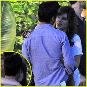 Zooey Deschanel Spotted Kissing & Hugging Mystery Man on 'Rock the Kasbah' Set