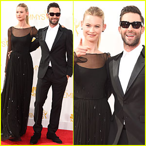 Adam Levine & Wife Behati Prinsloo Heat It Up at Emmys 2014