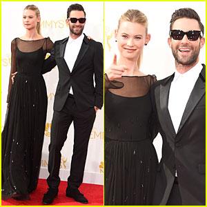 Adam Levine & Wife Behati Prinsloo Heat It Up at Emmys 2014