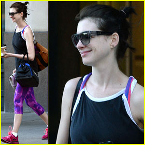 Anne Hathaway Gets Energized for a Long Day of Filming!