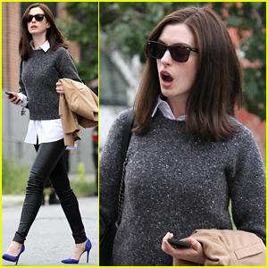 Anne Hathaway Gets a Shock on 'The Intern' Set