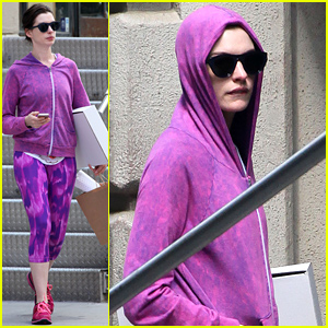 Anne Hathaway Steps Out in Totally Head-to-Toe Purple Outfit