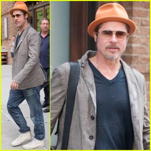 Brad Pitt Wears His Favorite Orange Hat Again in NYC