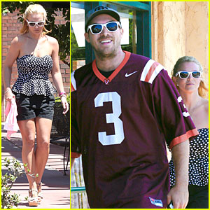 Britney Spears & Boyfriend David Lucado Wear Matching White Sunglasses to Lunch!
