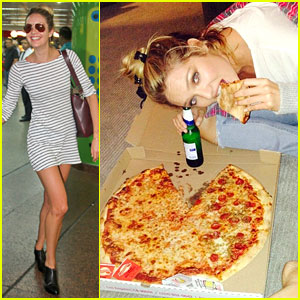 Candice Swanepoel Chows Down on Pizza After Photo Shoot