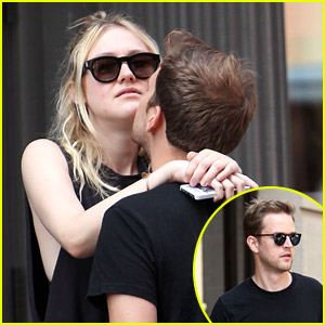 Dakota Fanning Gets Cute Chin Kisses From Boyfriend Jamie Strachan