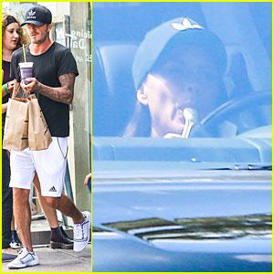 David & Victoria Beckham Wear Matching Hats in Brentwood!