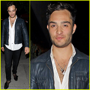 Ed Westwick Keeps His Shirt Unbuttoned & Displays Some Bare Chest