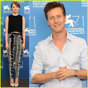 Emma Stone & Edward Norton Buddy Up for 'Birdman Photo Call