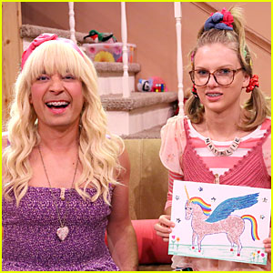 Geeky Taylor Swift & Jimmy Fallon Crack Us Up During 'Tonight Show' Ew Skit (Video)