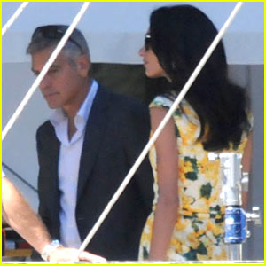 George Clooney Gets Visit from Fiancee Amal Alamuddin on Set!