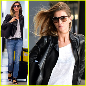 Gisele Bundchen Lands in Leather After Short Trip to Brazil