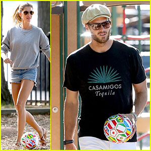 Gisele Bundchen & Tom Brady Showcase Their Soccer Skills at the Park!