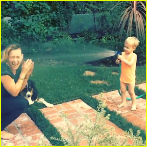 Hilary Duff's Son Luca Sprays Her with Water in Cute Video!