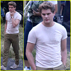 Jeremy Irvine Is Hot & Sweaty on 'Stonewall' Movie Set