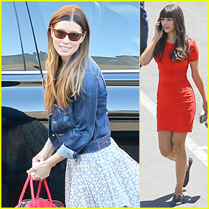 Jessica Biel & Hannah Simone Are Such Stylish Babes On 'New Girl' Set