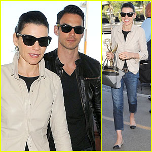 Emmy Winner Julianna Margulies Shows Off New Statuette at LAX Airport