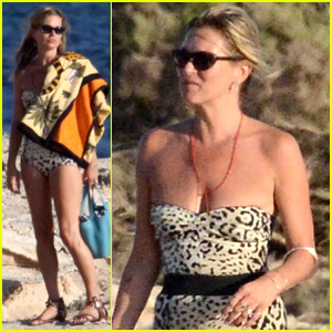 Kate Moss Shows Off Her Figure in Animal-Print Bathing Suit