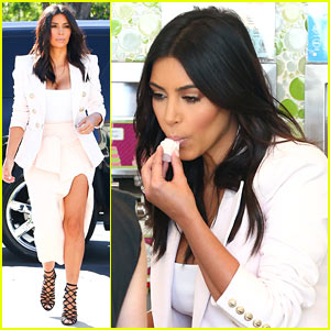 Kim Kardashian Satisfies Her Sweet Tooth with Some Fro-Yo