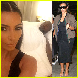 Kim Kardashian Posts Selfie in Bed with Hubby Kanye West!