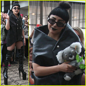 Lady Gaga Receives Stuffed Koala Upon Arrival in Australia