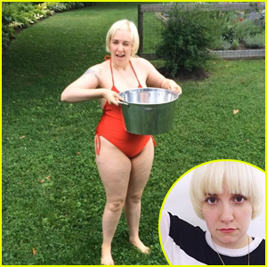 Lena Dunham Dons Bathing Suit for ALS Ice Bucket Challenge After Debuting Platinum Blonde Bowl Cut!