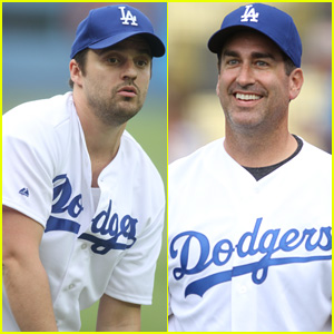 'Let's Be Cops' Stars Jake Johnson & Rob Riggle Throw Out First Pitch at Dodgers Game