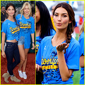 Sports Illustrated's Lily Aldridge & Gigi Hadid Throw Out First Pitch at Baseball Game