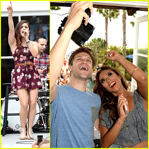 Pretty Little Liars' Shay Mitchell & Keegan Allen Surprise Lucy Hale at Hollister House!