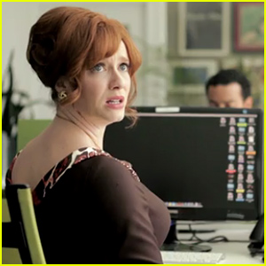 Mad Men's Christina Hendricks Can't Figure Out How to Work in a Modern Office in Hilarious Video - Watch Now!