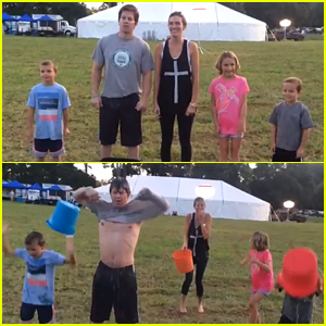 Mark Wahlberg Rips His Shirt Off During Ice Bucket Challenge With His Kids!