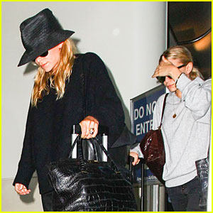 Mary-Kate & Ashley Olsen Keep Their Heads Down at LAX