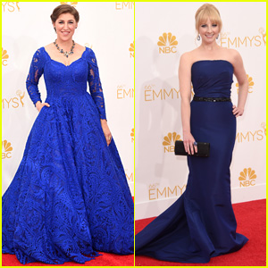 Mayim Bialik & Melissa Rauch are Blue Babes at Emmys 2014