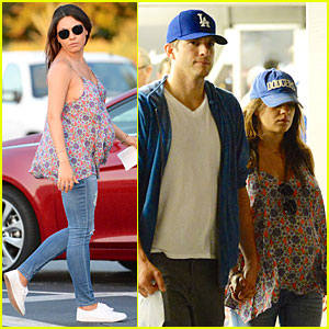 Pregnant Mila Kunis Brings Huge Baby Bump to Dodgers Game with Fiance Ashton Kutcher