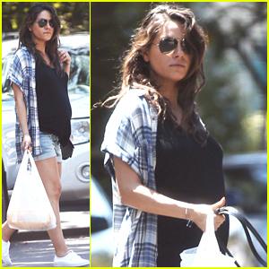 Mila Kunis Wears Short Shorts, Displays Her Growing Baby Bump in Los Angeles