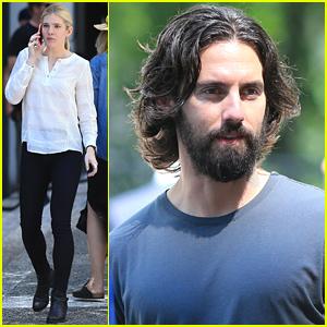 Scruffy Milo Ventimiglia & Lily Rabe Continue Filming 'The Whispers'