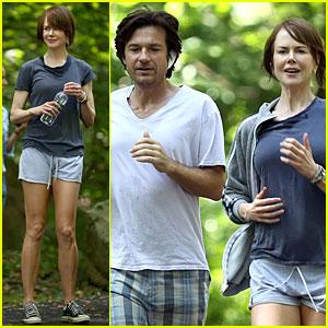 Nicole Kidman & Jason Bateman Get Hot & Sweaty During Jog For 'Family Fang'