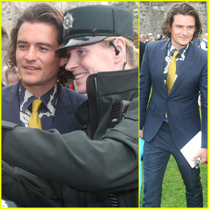 Orlando Bloom Takes Selfies While Attending Wedding in Ireland